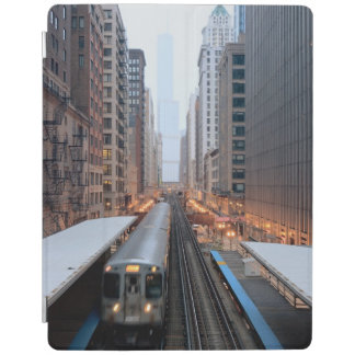 Elevated rail in downtown Chicago over Wabash iPad Cover