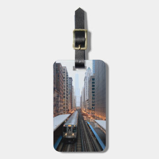 Elevated rail in downtown Chicago over Wabash Luggage Tag
