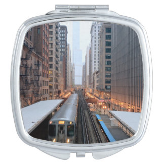 Elevated rail in downtown Chicago over Wabash Makeup Mirror