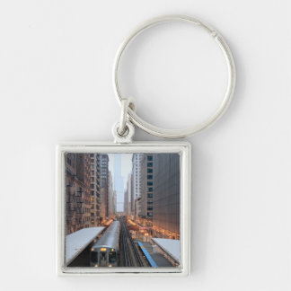 Elevated rail in downtown Chicago over Wabash Silver-Colored Square Key Ring