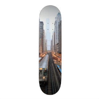 Elevated rail in downtown Chicago over Wabash Skate Boards