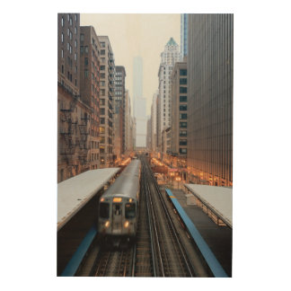 Elevated rail in downtown Chicago over Wabash Wood Wall Decor