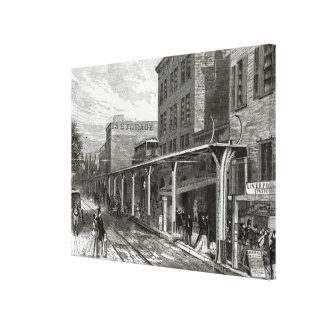 Elevated Railway in Greenwich Street, New York Canvas Print