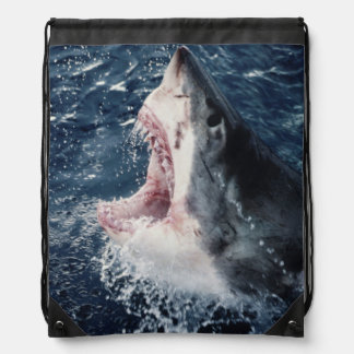 Elevated Shark mouth open Drawstring Bag