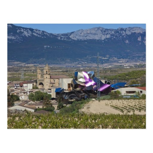 Elevated town view and Hotel Marques de Riscal 2 Post Card