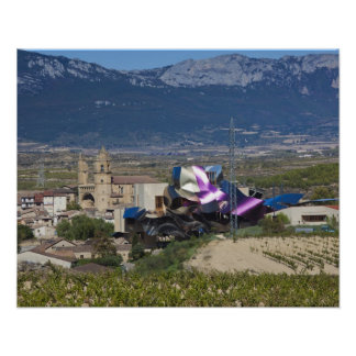 Elevated town view and Hotel Marques de Riscal 2 Poster