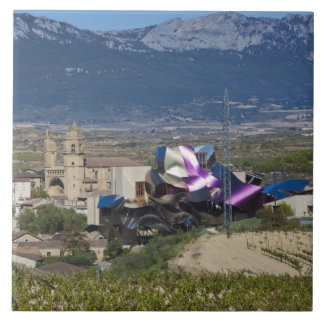 Elevated town view and Hotel Marques de Riscal 2 Tile