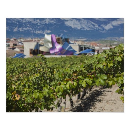 Elevated town view and Hotel Marques de Riscal Posters