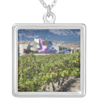 Elevated town view and Hotel Marques de Riscal Silver Plated Necklace