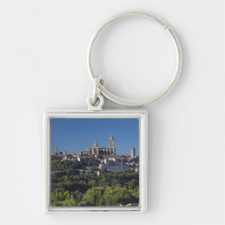 Elevated town view with the Segovia Cathedral Silver-Colored Square Key Ring