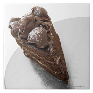 Elevated view of a piece of chocolate cake tile