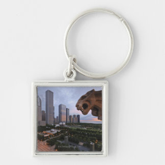 Elevated View of Milennium Park Silver-Colored Square Key Ring