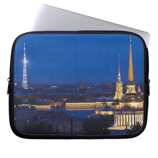 Elevated view of the Television Tower Laptop Sleeves