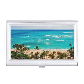 Elevated View Of Waikiki Beach Scene, Honolulu 2 Business Card Holder