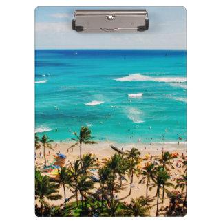Elevated View Of Waikiki Beach Scene, Honolulu 2 Clipboard
