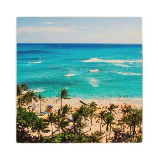 Elevated View Of Waikiki Beach Scene, Honolulu 2 Maple Wood Coaster