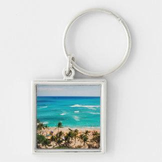 Elevated View Of Waikiki Beach Scene, Honolulu 2 Silver-Colored Square Key Ring