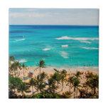 Elevated View Of Waikiki Beach Scene, Honolulu 2 Small Square Tile