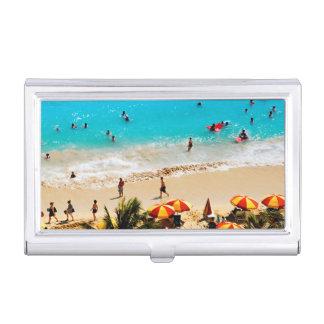 Elevated View Of Waikiki Beach Scene, Honolulu Business Card Holder