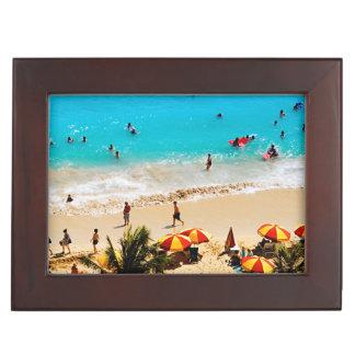 Elevated View Of Waikiki Beach Scene, Honolulu Keepsake Boxes