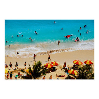 Elevated View Of Waikiki Beach Scene, Honolulu Print
