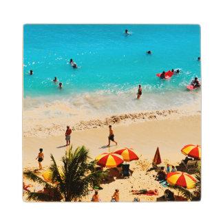 Elevated View Of Waikiki Beach Scene, Honolulu Wood Coaster
