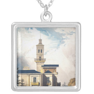 Elevation of an Italian Villa or Hunting Lodge Silver Plated Necklace