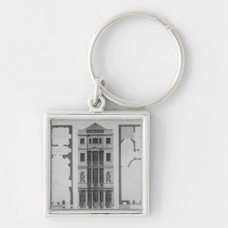 Elevation of the British Coffee House Silver-Colored Square Key Ring