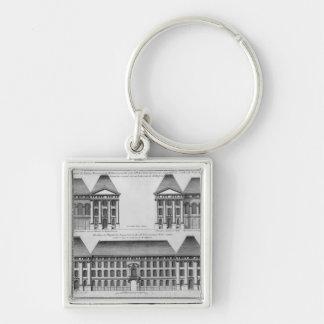 Elevation of the Hopital des Enfants Trouves Silver-Colored Square Key Ring