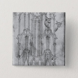 Elevation of the tower of Laon Cathedral 15 Cm Square Badge