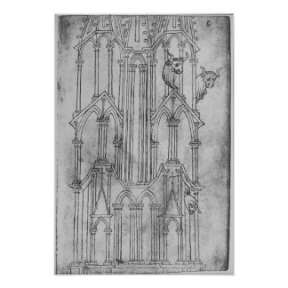 Elevation of the tower of Laon Cathedral Poster