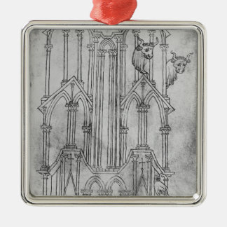 Elevation of the tower of Laon Cathedral Silver-Colored Square Decoration