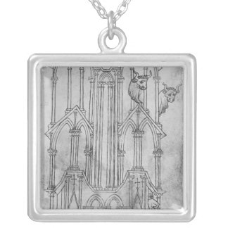 Elevation of the tower of Laon Cathedral Silver Plated Necklace
