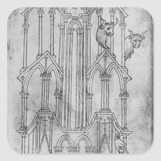 Elevation of the tower of Laon Cathedral Square Sticker