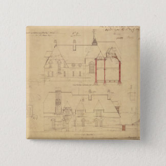Elevations for The Red House, Bexley Heath (pen an 15 Cm Square Badge