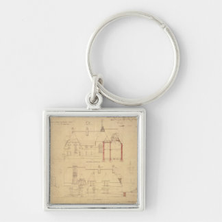 Elevations for The Red House, Bexley Heath (pen an Silver-Colored Square Key Ring