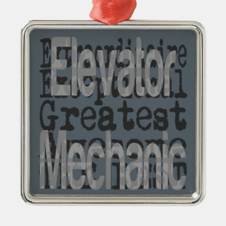 Elevator Mechanic Extraordinaire Silver-Colored Square Decoration