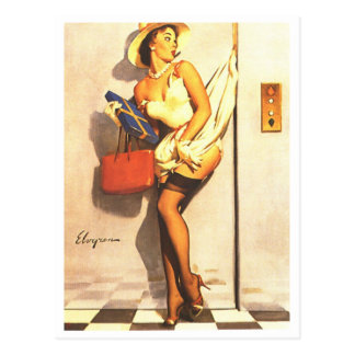 Elevator Pin Up Post Card