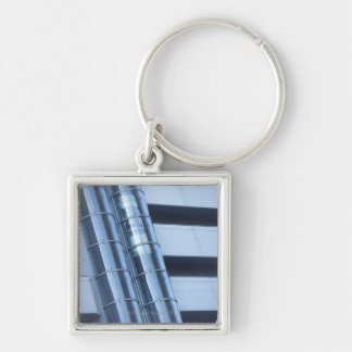 Elevator Silver-Colored Square Key Ring
