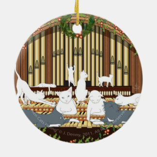 Eleven Cats Piping... double sided Christmas Ornament