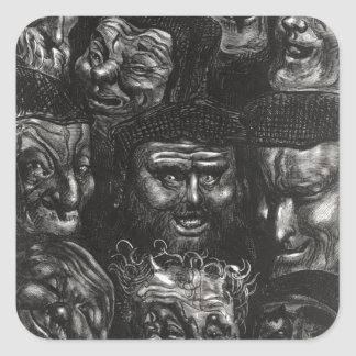 Eleven grotesque faces square stickers