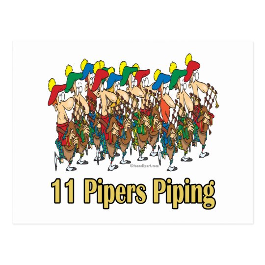 eleven pipers piping  11th day of christmas postcard