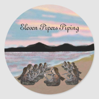 Eleven Pipers Piping Stickers