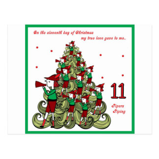 Eleventh Day of Christmas Postcard