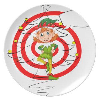 Elf and christmas plates
