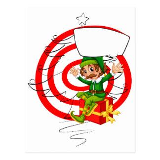 Elf and Christmas Postcard