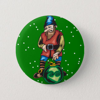 Elf and Green Christmas Ornament 6 Cm Round Badge