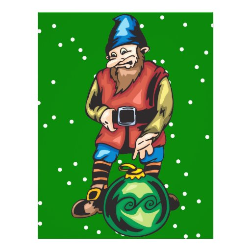Elf and Green Christmas Ornament Full Color Flyer