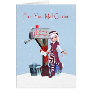 Elf and Mailbox Happy Holidays from Mail Carrier Card