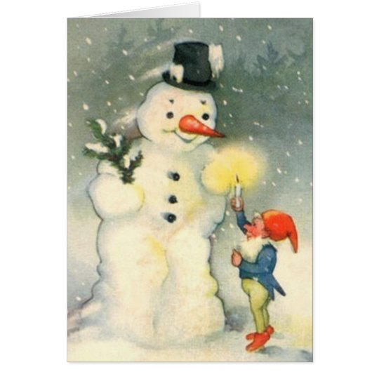 Elf and Snowman Vintage Christmas Card